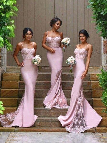 df9b2c1abba Mermaid Spaghetti Straps Blush Pink Bridesmaid Dress · Sancta Sophia ...