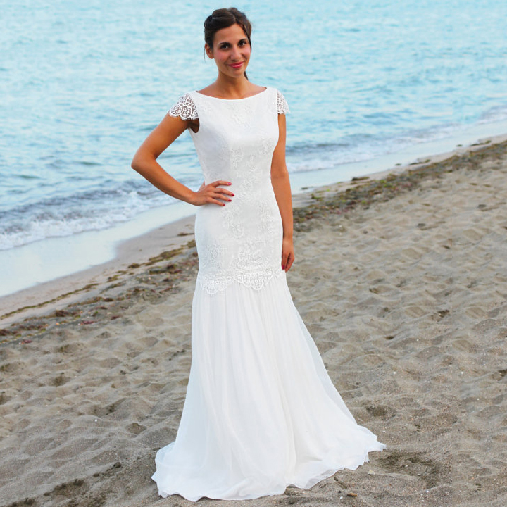 Trendy Open Back Wedding Dresses, Simple Boat Neck Trumpet