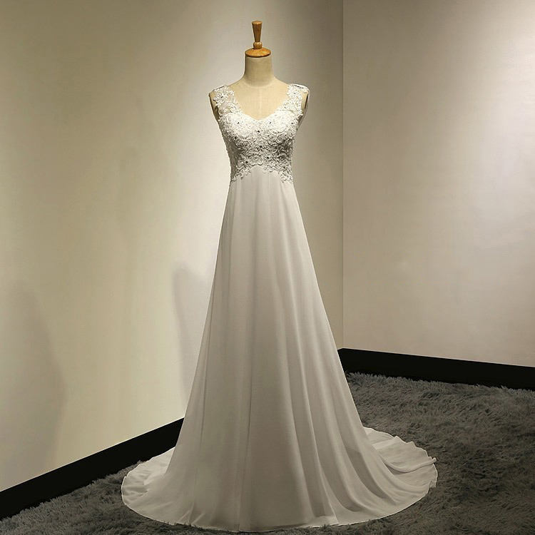 Affordable Empire Wedding Dress With Cowl Back Illusion Neck Bridal Gown With Lace Applique Chiffon Ivory Wedding Dress With Sweep Train 00022536 Millybridal Online Store Powered By Storenvy
