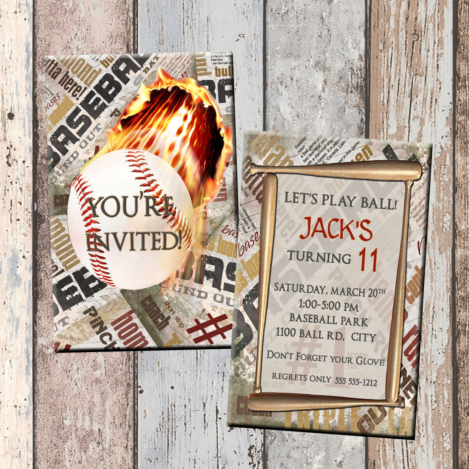 Baseball Personalized Birthday Invitation 2 Sided Card Party