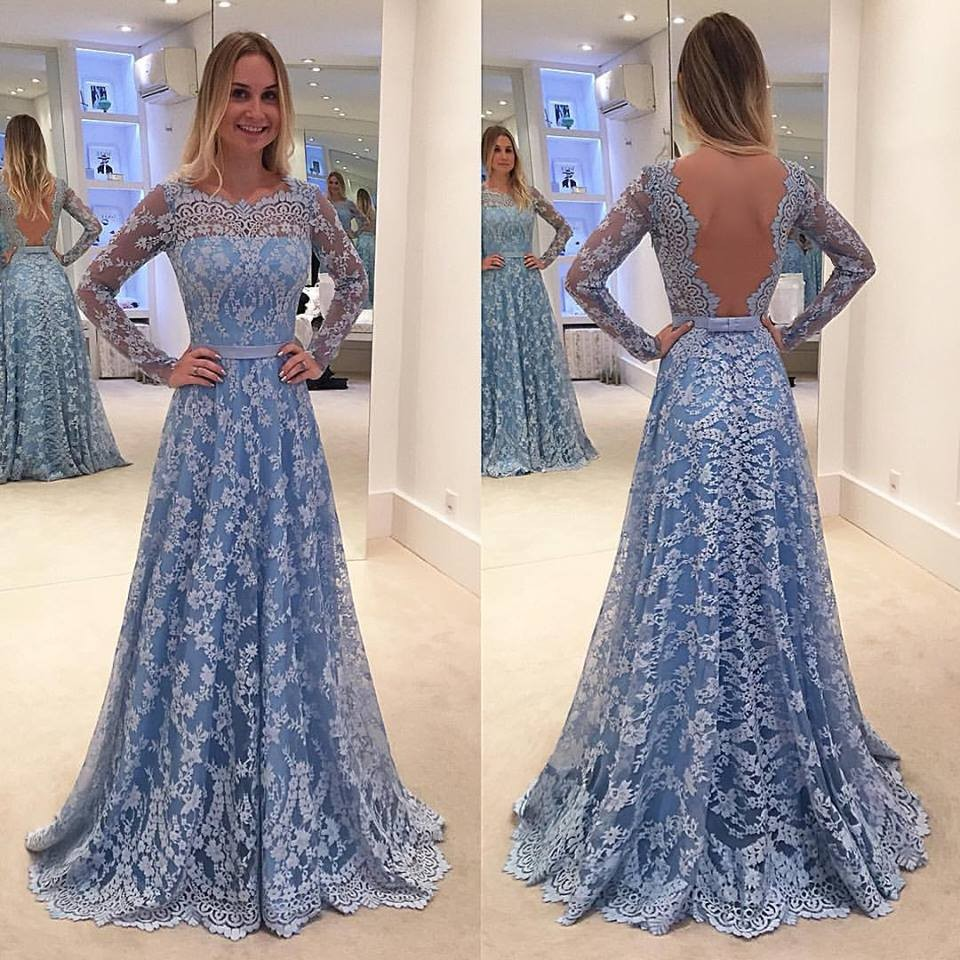 A-line Lace Prom Dress 2017 Prom Dresses Long Sleeve Sleeve Open ...