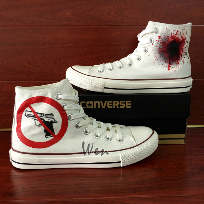 71ae73d776e02 Wen Hand Painted Shoes Custom Design Converse All Star NO Gun Symbol High  Top White Canvas Sneakers Men Women Gifts on Storenvy