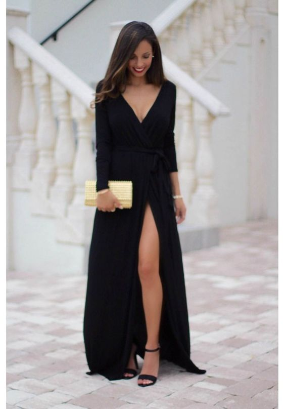 Custom Made Black Prom Dresslong Sleeves Evening Dress Deep V Neck