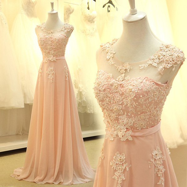 Popular Long Prom Dresses With Applique Cheap Formal Chiffon Prom