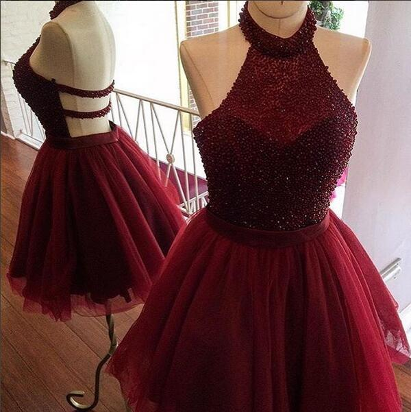 e9acb624cacb Charming A-line burgundy homecoming dress,mini short cocktail dress ...