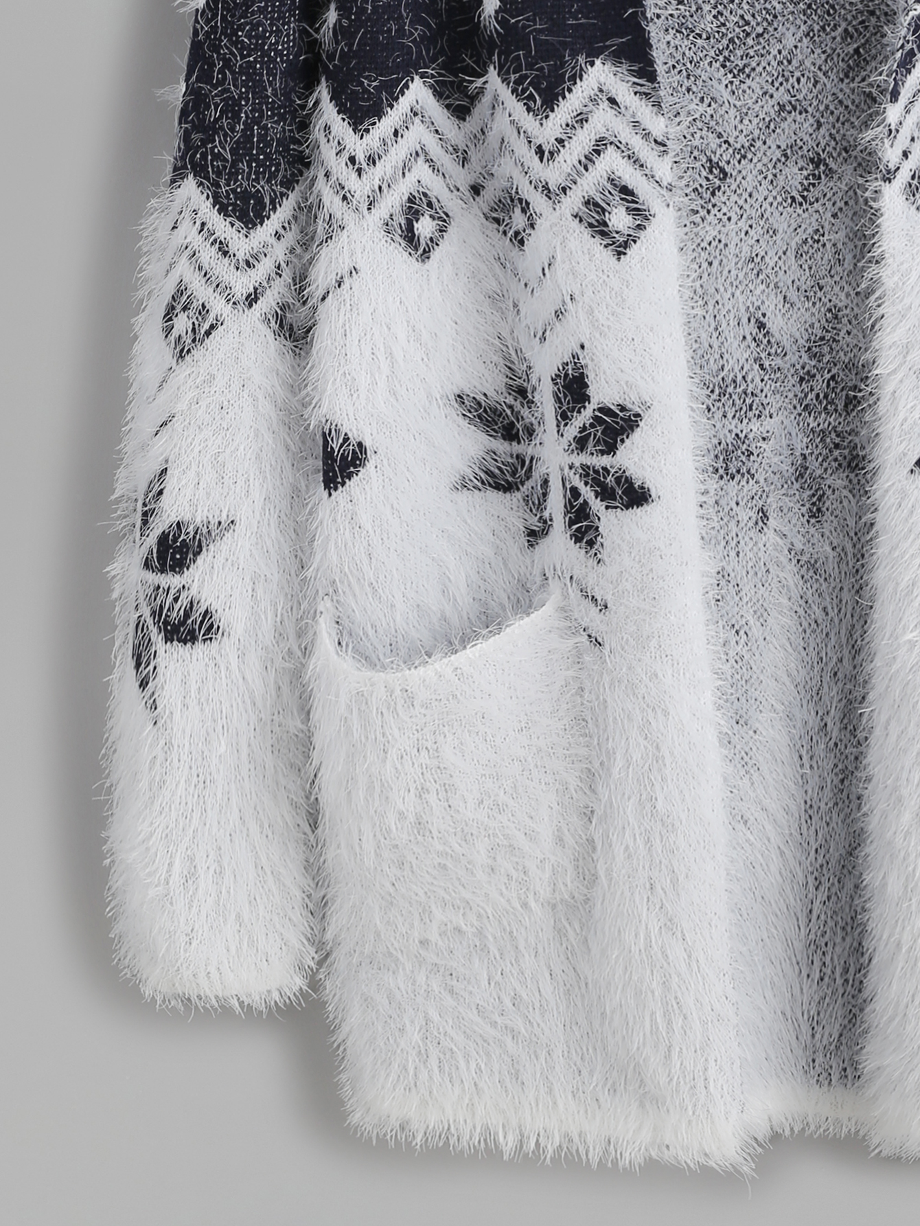 f1552f5fcc1a Color Block Snowflake Pattern Fuzzy Hooded Sweater Coat Cardigan -  Thumbnail 1 ...