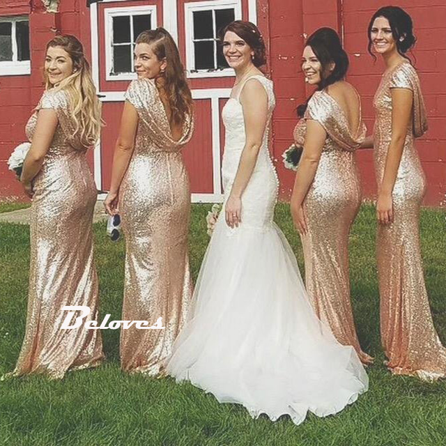 Sequin Rose Gold Mermaid Bridesmaid Gown,Prom Dress Low Back ...