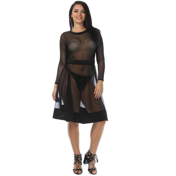 Plus Size Long Sleeve All Mesh Flared Skater Dress Black from Head2Toez  Apparel