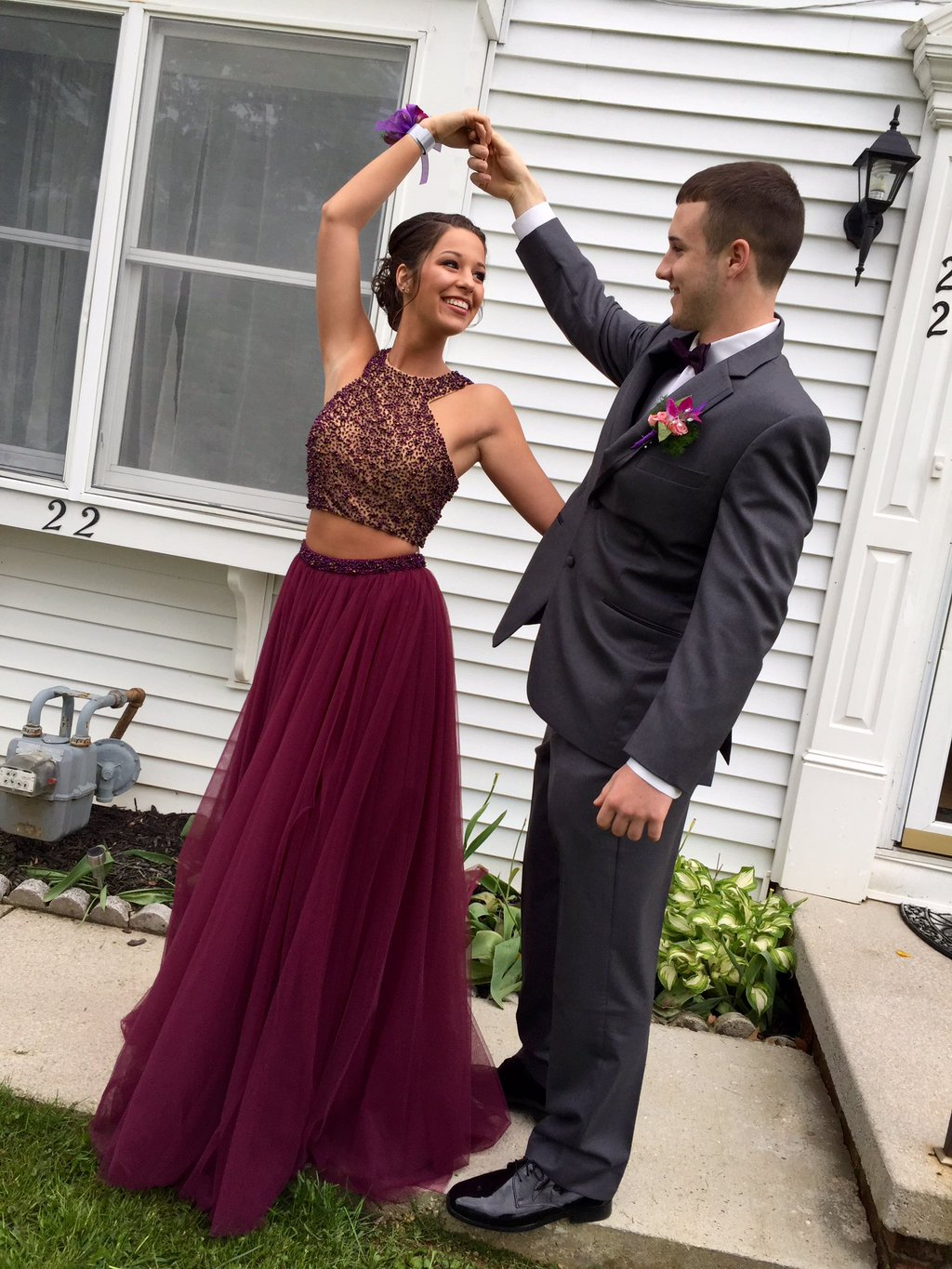 Unique Burgundy Two Piece Beaded Tulle Long Prom Dresses