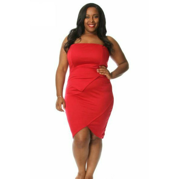 Plus Size Strapless Tulip Dress Red