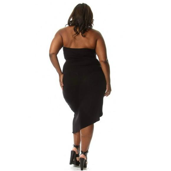 3dcd3aaafd9da Plus Size Tube Top Front Tie Bodycon Dress Black · Head2Toez Apparel ...