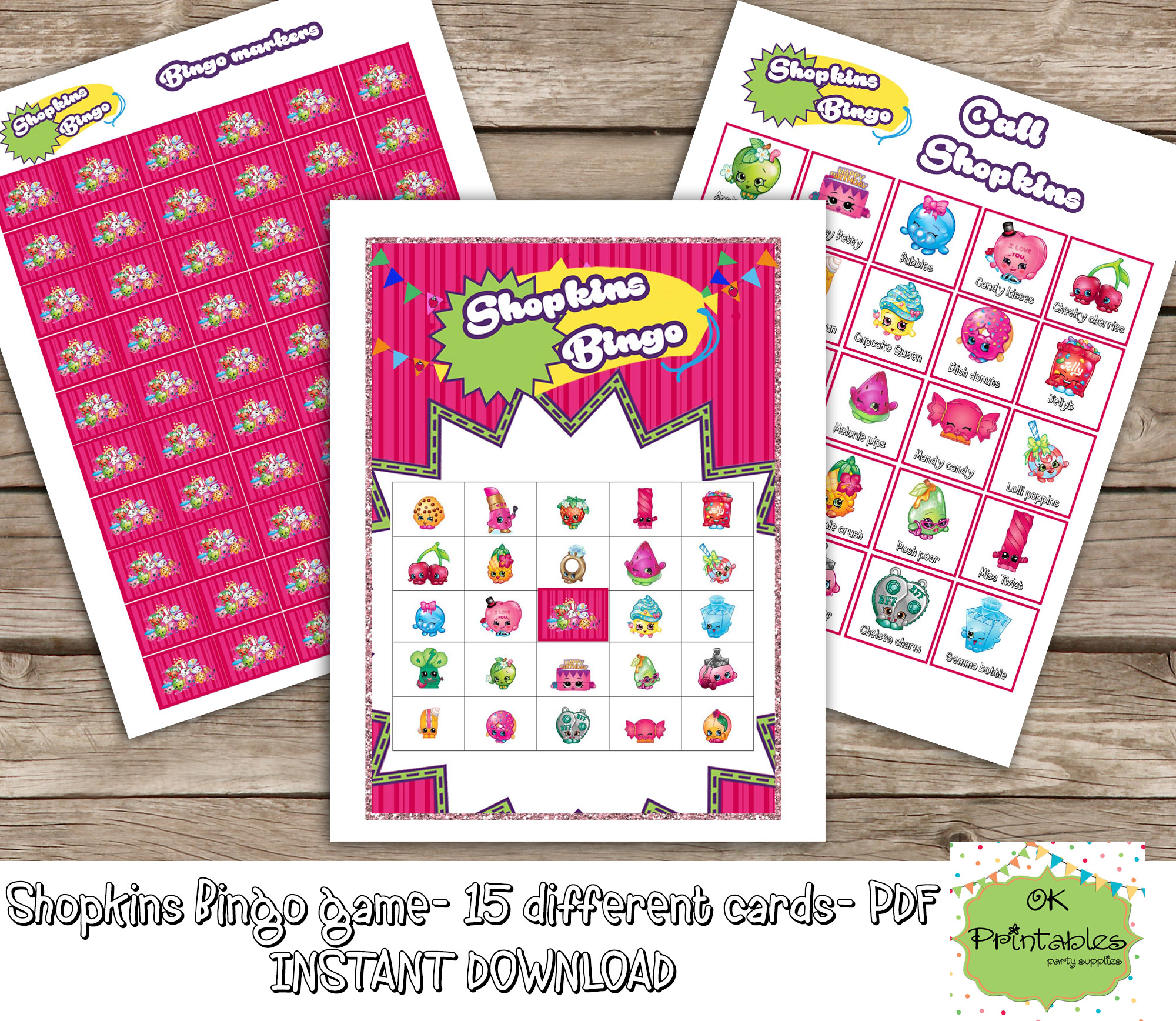 Shopkins Bingo Game Include 15 Different Cards Printable Birthday Party Favor