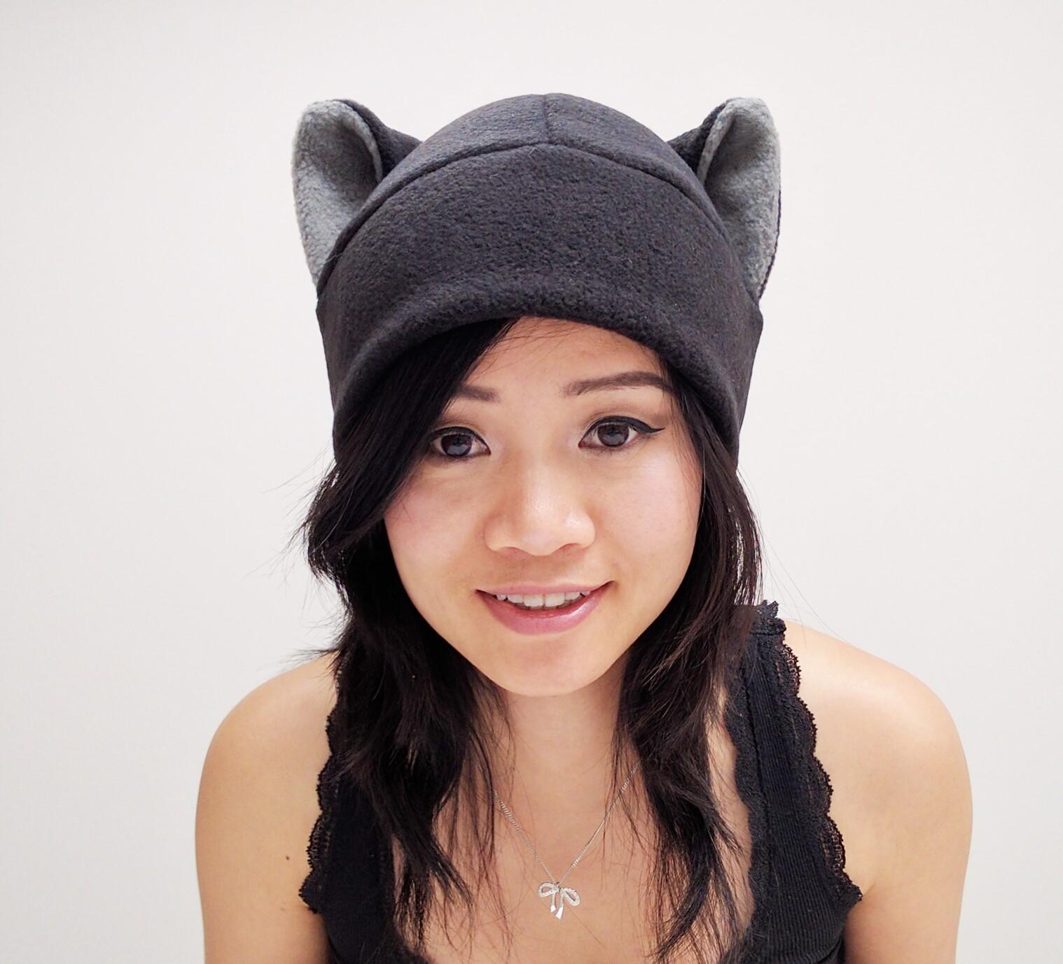 Black Cat Ear Hat - Cat Hat - Cat Fleece Hat - Black Beanie Cat Hat ... a24426e90c5