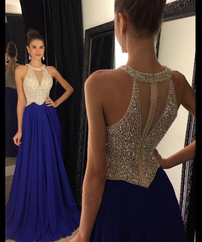 Navy blue chiffon beading long prom dresses,