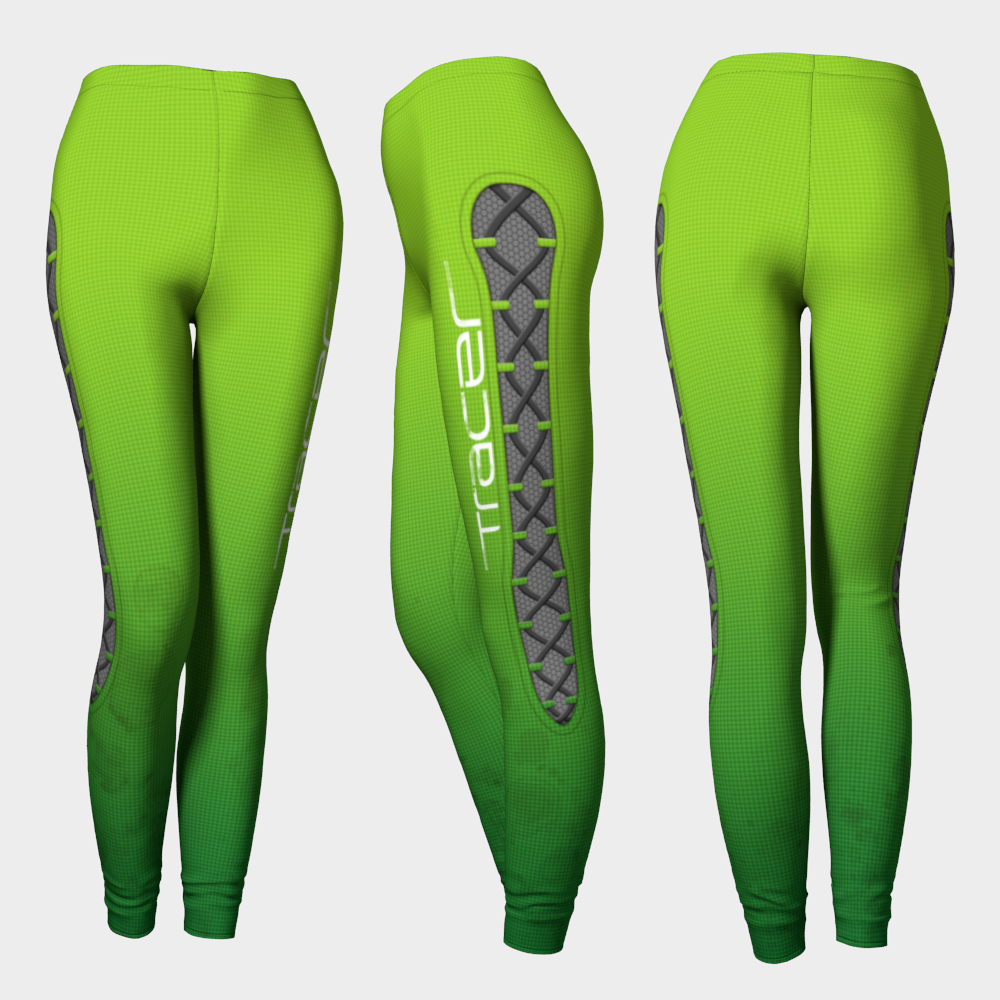 2573210a98971 Tracer Overwatch Fanart Cosplay Leggings Neon Green · Spotted ...
