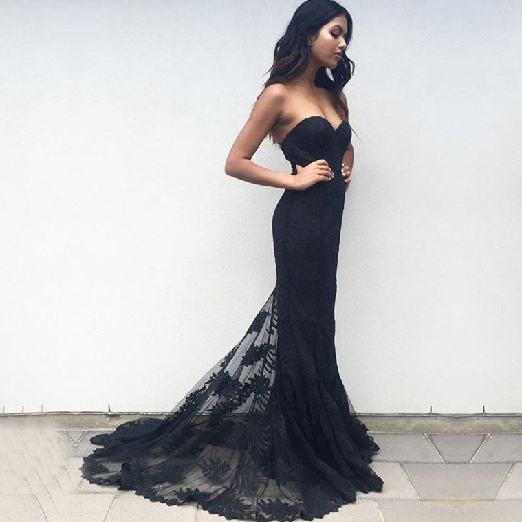 e3480df713 Sexy Mermaid Sweetheart Black Sweep Train Prom Bridesmaid Dress With ...