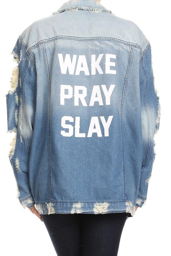 a6adef2e21aa9 Wake Pray Slay Distressed Jacket on Storenvy