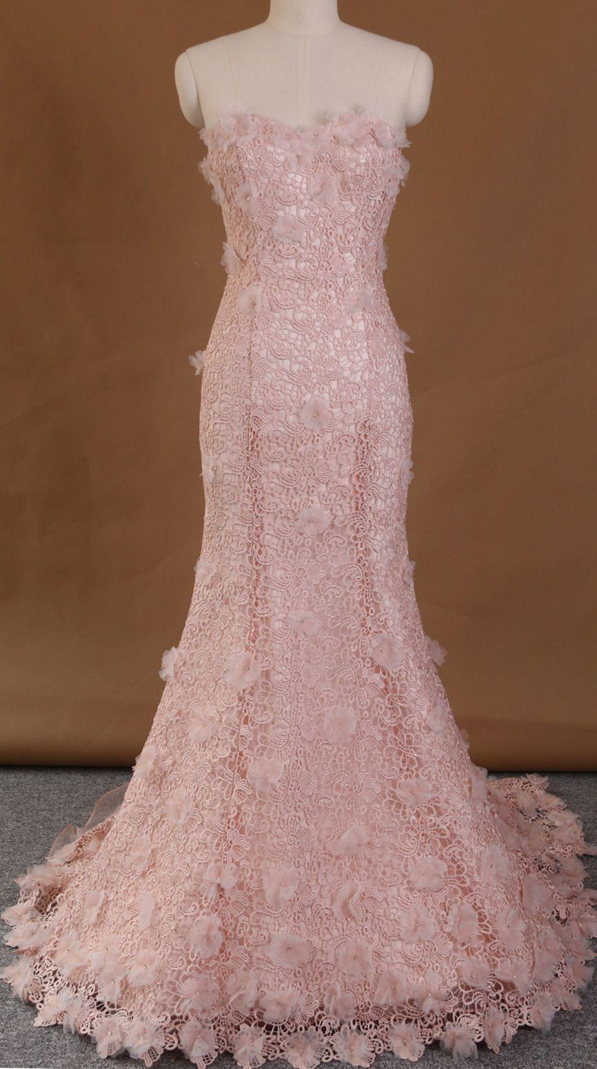 Two-piece wedding dress,lace wedding gown,flower wedding dress ...