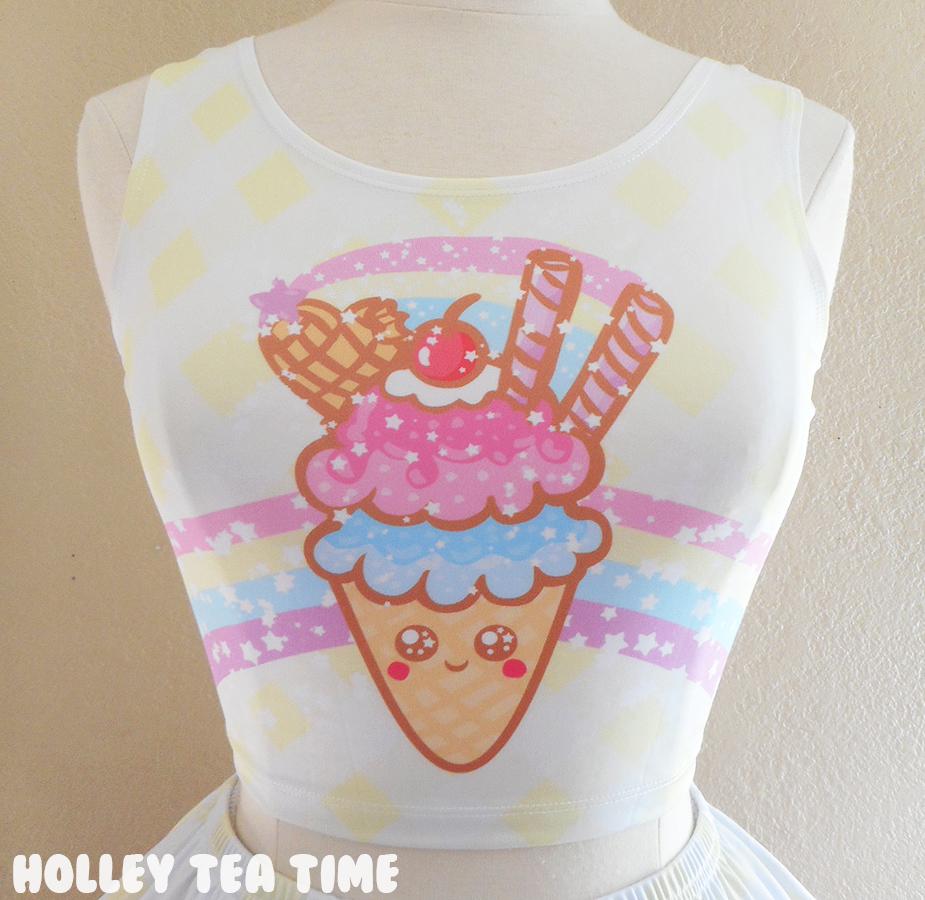 88162f1a8799e ☆ Ice Cream Picnic Crop Top ☆ Made To Order ✧ Kawaii Food ✧ Decora kei ✧  Harajuku Fashion on Storenvy