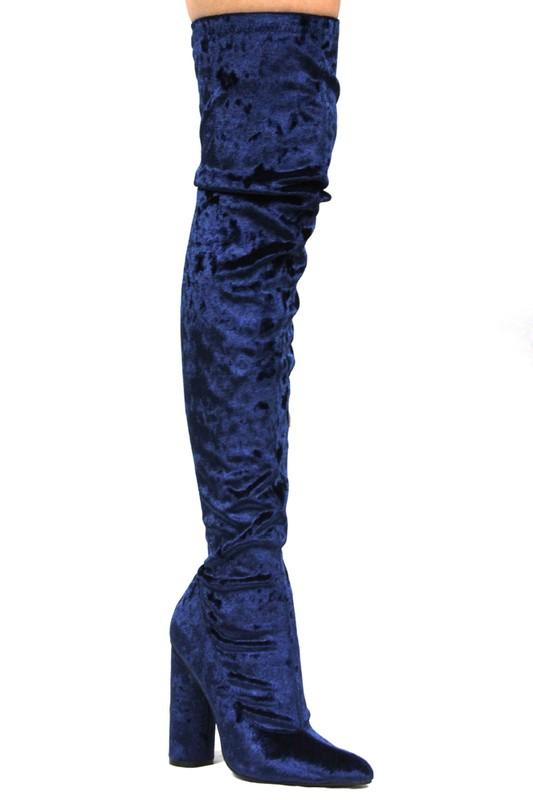 Velvet Crush Knee High Boots in Royal