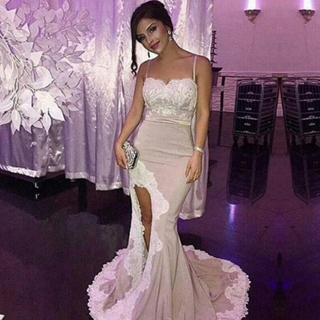 fa068bef12 Sexy Mermaid Spaghetti Straps Split Front Long Prom Dress With ...
