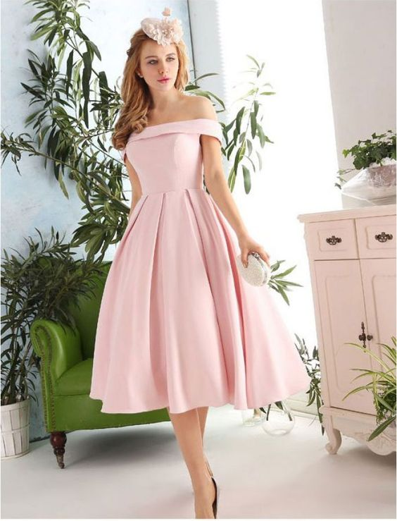 New Fashion Pink Prom Dresses Satin Prom Dress 1950s Vintage