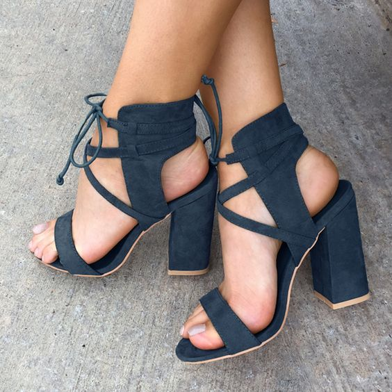 b448d093312 Suede Cross Strap Chunky Heel Sandals on Storenvy