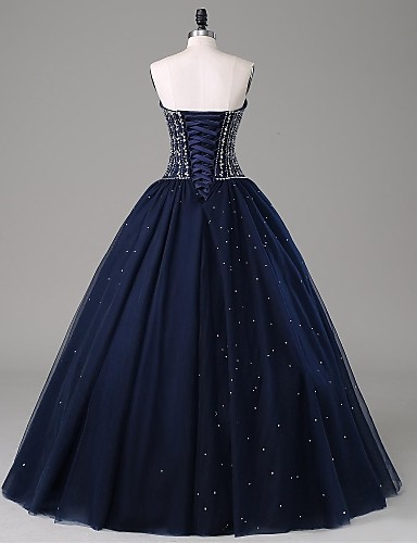 Hot Sales Navy Blue Ball Gown Prom Dresses,Sweetheart