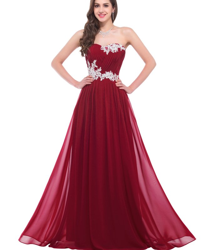 Hot Sales Burgundy Prom Dress,A line Chiffon Empire Waist Evening ...