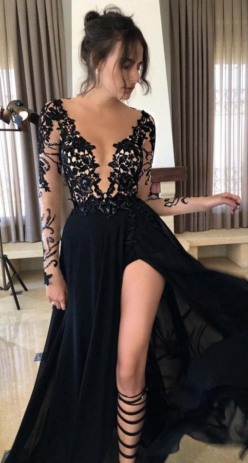 High Low Beige Satin Prom Dress Black Lace Appliques