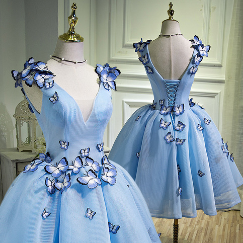 cute blue butterfly short prom gown cute homecoming dress