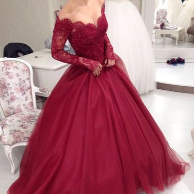 New Burgundy Lace Ball Gown Prom Dresseslong Sleeves Wine Red