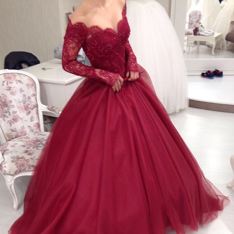 New Burgundy Lace Ball Gown Prom Dresses Long Sleeves Wine Red
