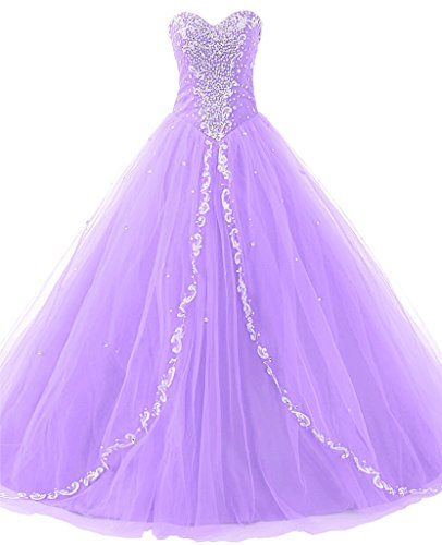 Ball Gown Prom Dress Quinceanera Dresses Ruffled Beaded Lilac Evening Gowns Princess Tulle With