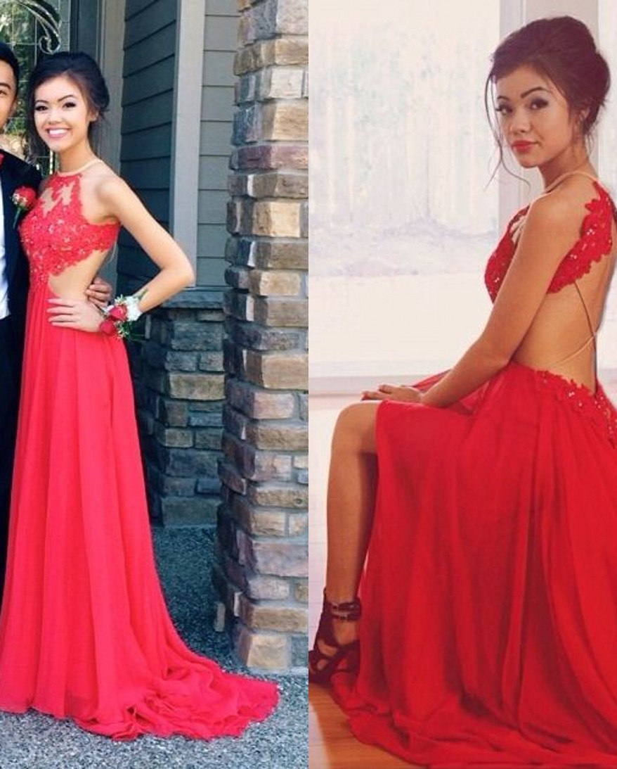 Halter Prom Dresses Backless Spaghettis Red Lace Applique Beading ...