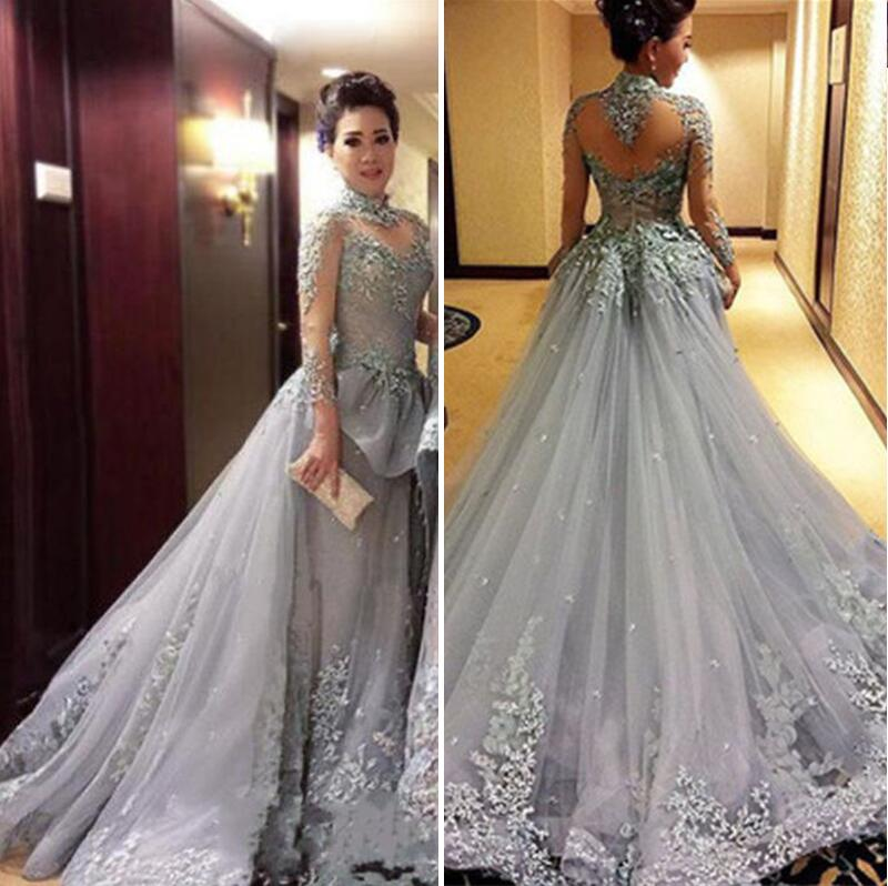 0bc97d1f649 Long Sleeve Grey Lace Evening Prom Dresses, 2017 A line Party Prom Dress,  Tulle Lace Prom Dress, dresses for Prom, Beaded prom dresses 2017, 17329