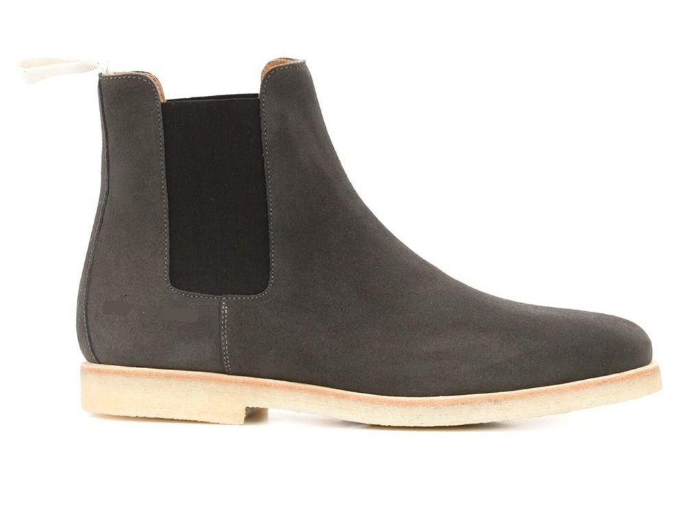 3f7496e6d0fe0 Handmade Black Chelsea Suede Leather Boots