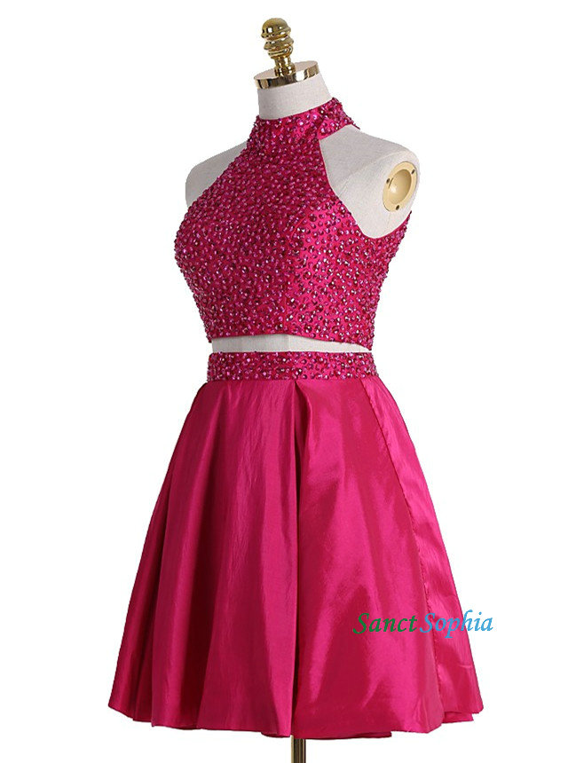 Short Two Piece Beaded Homecoming Dress d571cf89b