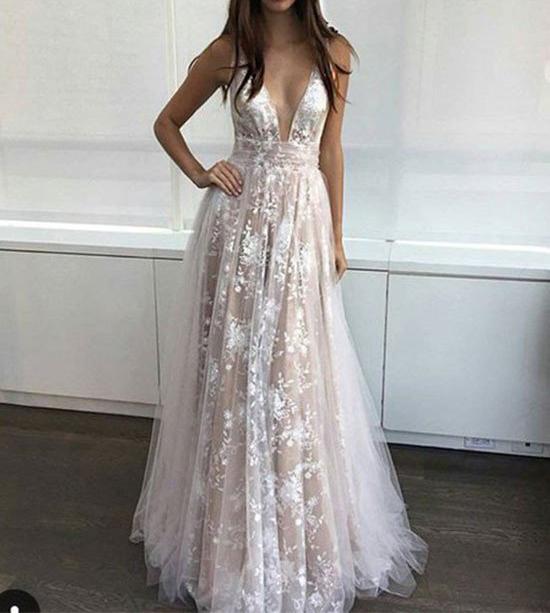 664efc972e Sexy White Lace Champagne Prom Dresses