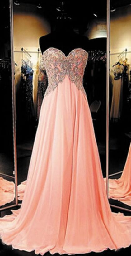 New Style Long Chiffon Coral Prom Dress Elegant Prom Dresses Elegant