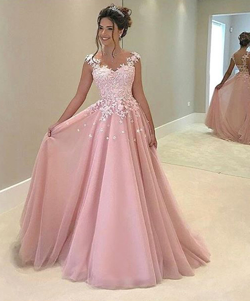 Red And White Lace Prom Dress: Ball Gown Pink Tulle With White Lace Appliqued Prom