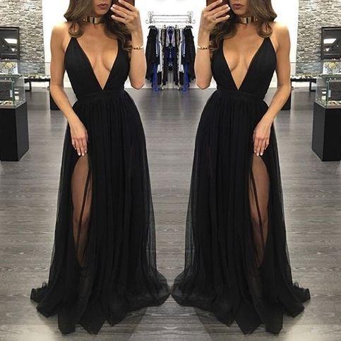 Popular black prom dresses, sexy deep v