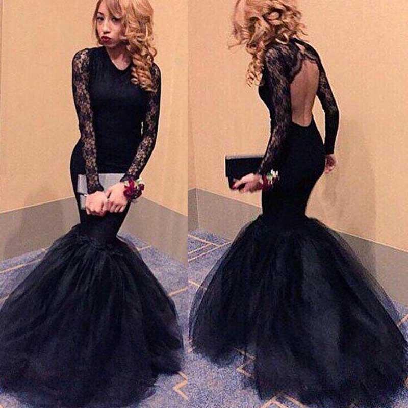 Long sleeve Black Mermaid Evening Prom Dresses, 2017 Long ...