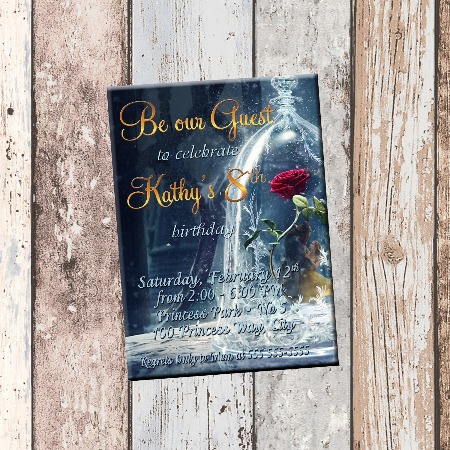 Be Our Guest Beauty and the Beast Personalized Birthday Invitation