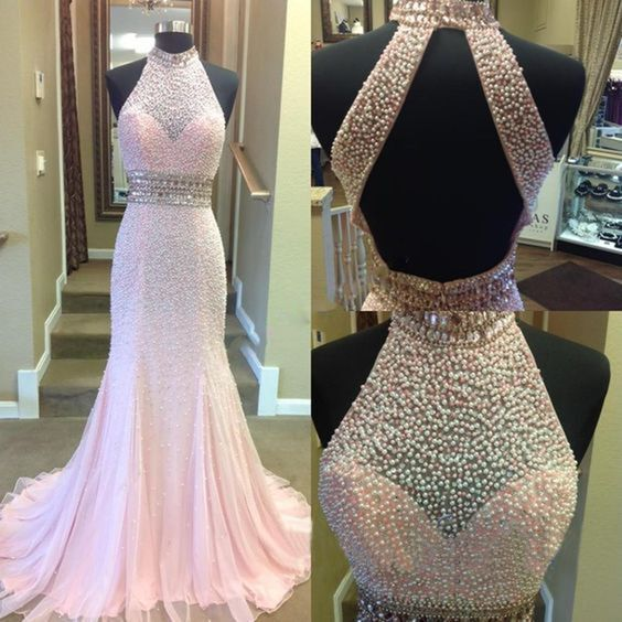 97ce3a08dea1 2017 Pink Beading Prom Dress High Neck Backless Luxury Mermaid Evening Gowns