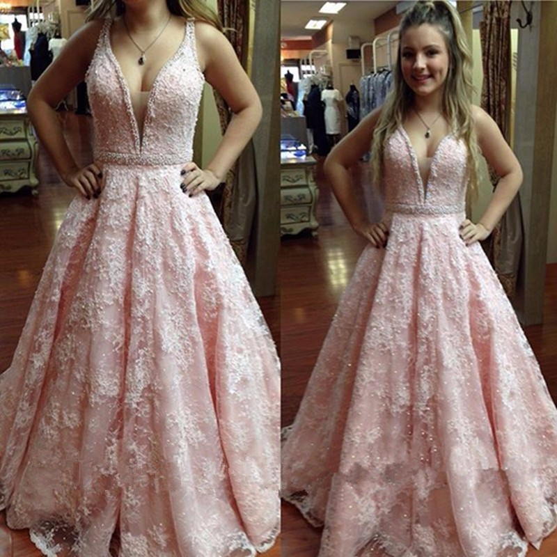Lace Bridal Dresses Lace V Neck Prom Dress Wedding Guest Prom Gowns