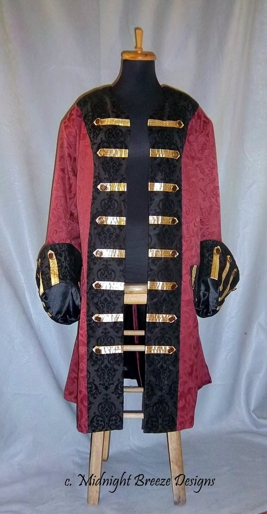 4cc28c3fac6 Custom Made to Order - Mens Renaissance Pirate Costume Frock Coat Any Size