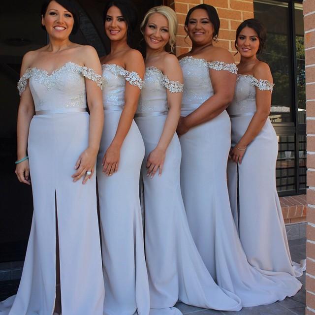 Off the Shoulder Lace Split Bridesmaid Dress Cheap Simple Plus Size ...