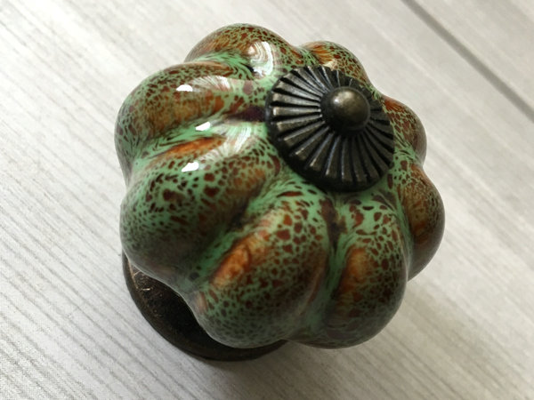 Green Glass Cabinet Knobs And Drawer Pulls: Green Brown Pumpkin Knob Cabinet Knobs Knobs Dresser Knob