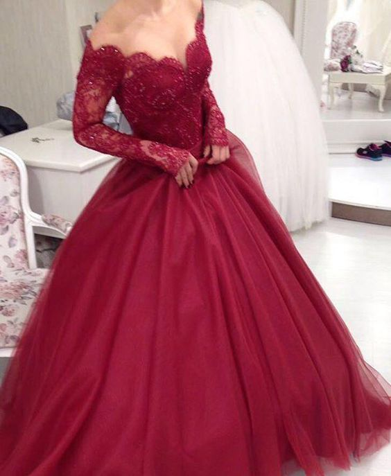 Beautiful Prom Dresses,Long Sleeves Ball Gown Prom Dresses ,Burgundy ...